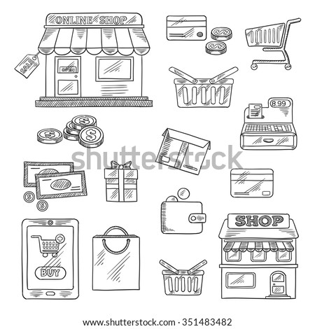 Shopping and retail icons in sketch style of online shop, sale tag, tablet pc and buy button, money, credit card, shopping cart, basket and bag, store, wallet, cash register, gift and delivery box