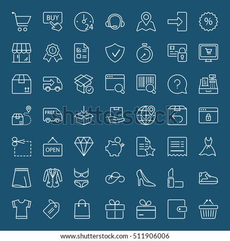 shopping and shipping icons set, thin line, white color
