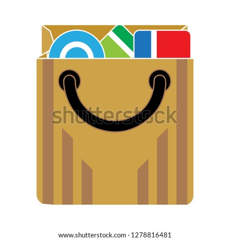 shopping bag icon-sale Sign-shipping Sign-holiday  Isolated-merchandise Vector-present Isolated-packaging Illustration