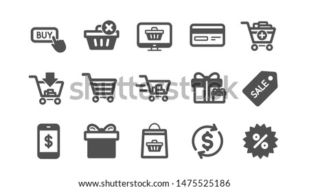 Shopping bag icons. Gift, Present and Sale discount. Delivery classic icon set. Quality set. Vector