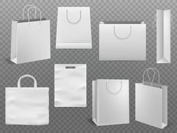 Shopping bag mockups. Empty handbag white paper fashion bag