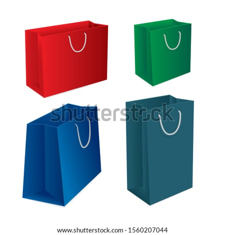 Shopping bag. Realistic colorful paper shopping bags vector illustrations set. Part of set.
