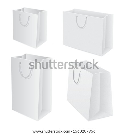 Shopping bag. Realistic white paper shopping bags vector illustrations set. Part of set.