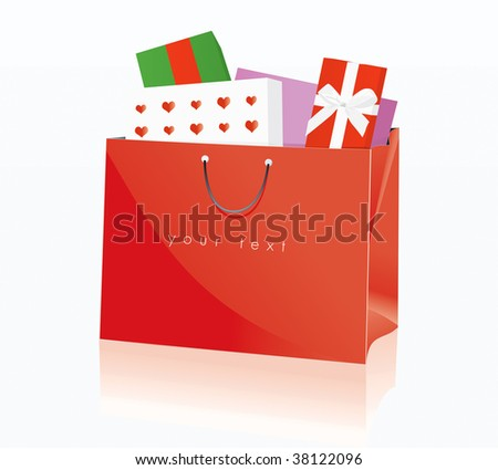 Shopping Bag Red 3 Drawing