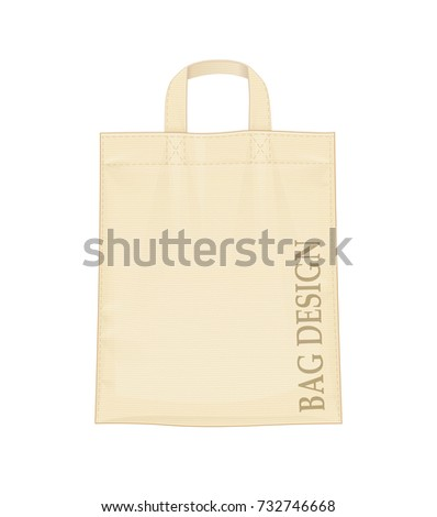 Shopping bag. Shop accessory for foodstuff. Bag mock-up, isolated on white background. Eps10 vector illustration.