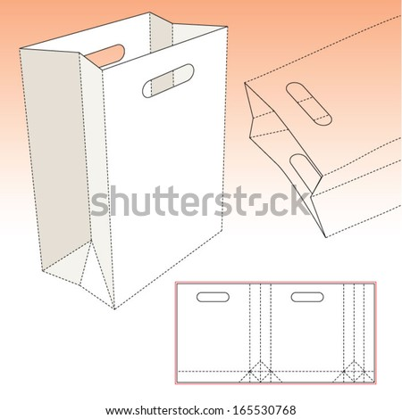 Royalty free paper bag with blueprint and layout 301854836 stock shopping bag with die cut pattern 165530768 malvernweather Choice Image