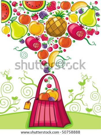 Shopping bag with fruit splash (fruit series)