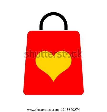 Shopping bag with heart illustration, love vector sign, Shopping bag pictogram isolated on white. Symbol, logo illustration