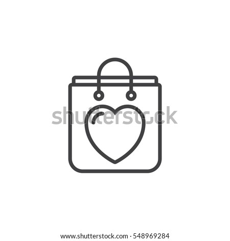 Shopping bag with heart line icon, outline vector sign, linear pictogram isolated on white. Symbol, logo illustration