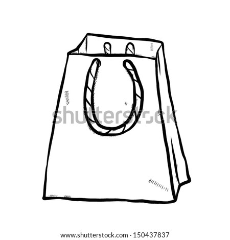 White Shopping Bag Black Handle Shopping Bag With Rope Handle