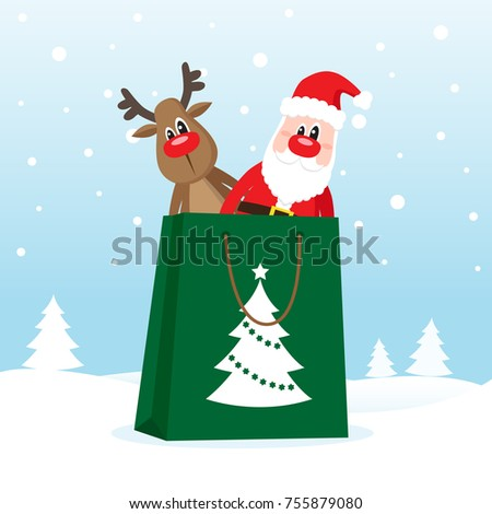 Shopping bag with Santa Claus and deer on the snow. Vector illustration