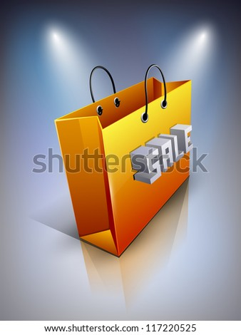 Shopping bag with text Sale. EPS 10.
