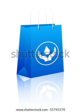 Shopping bag with water drop