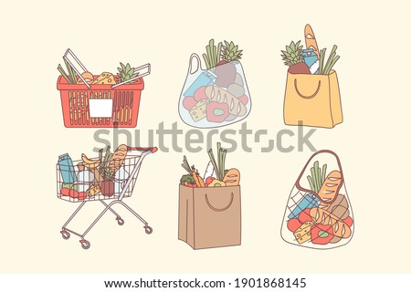 Shopping bags and grocery purchases concept. Full bags and baskets with natural food, organic fruits and vegetables for clean eating healthy diet vector illustration. Department store goods