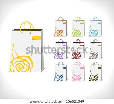shopping bags decorated with abstract rose in various colorful variations - vector illustration