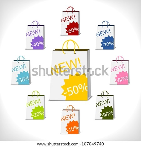 shopping bags decorated with percent stickers - vector illustration