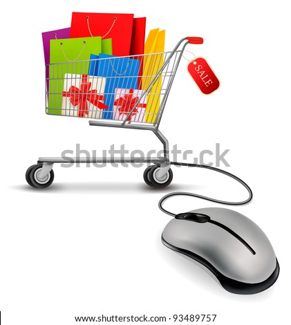 Shopping bags in shopping cart and computer mouse. Concept of e-shopping. Vector illustration.