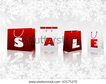 Shopping bags on winter background