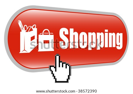 Shopping Bags Sign Icon with Mouse Cursor