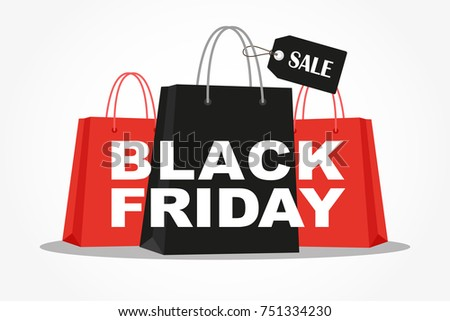 Shopping bags with Black Friday Sale advertising. Vector illustration