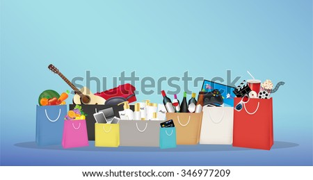 Shopping bags with many item inside
