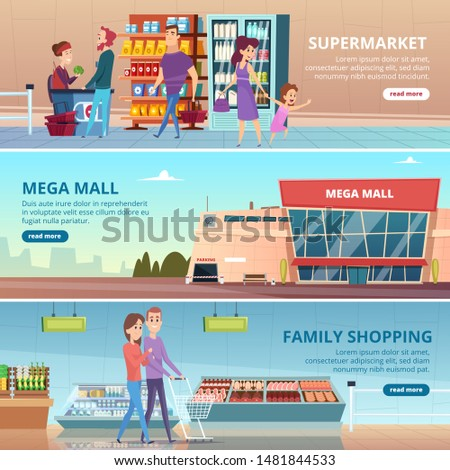 Shopping banners. People in grocery food market gourmet retailers shelves vector mall interior illustrations