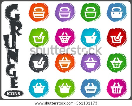 Shopping Bascket icon set for web sites and user interface in grunge style