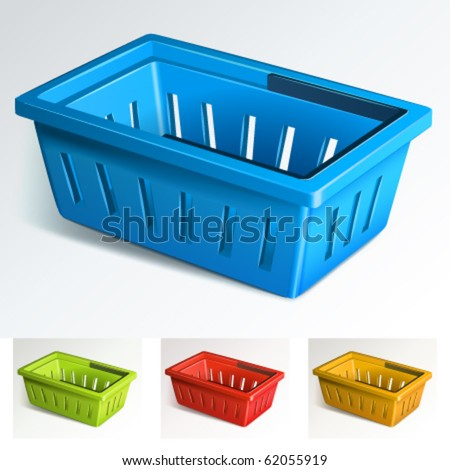 Shopping basket. 4 colors. Vector Illustration