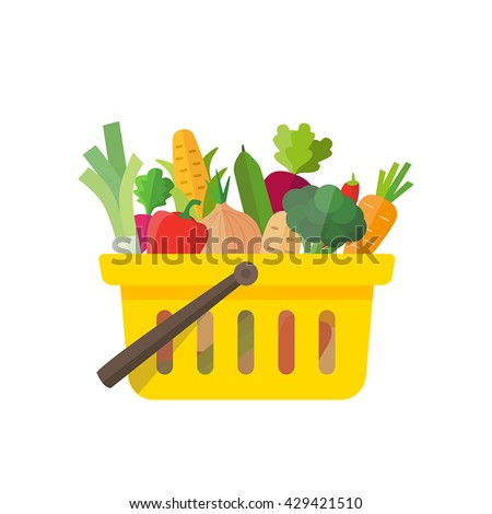 Shopping basket full of vegetables - can illustrate healthy lifestyle, vegan or vegetarian diet, raw food, healthy cooking. Also farming, fresh food and organic agriculture.