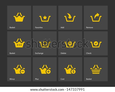 Shopping Basket icons on gray background. Vector illustration.