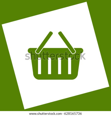 Shopping basket sign. Vector. White icon obtained as a result of subtraction rotated square and path. Avocado background.