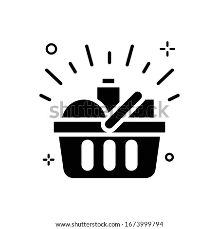 Shopping Basket Vector illustration. Shopping and E-commerce Glyph icon.