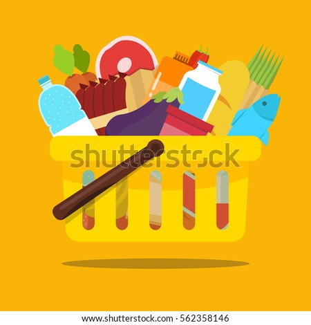 Shopping basket with food and drink products. Concept for online grocery ordering. Vector flat illustration.