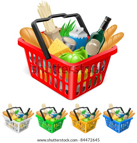 Shopping basket with foods. Realistic illustration for design