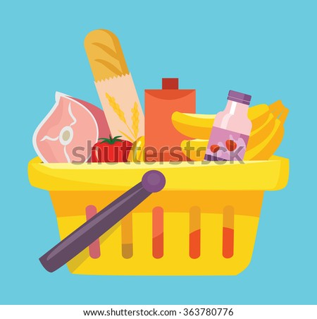 Shopping basket with foods. Vector flat illustration