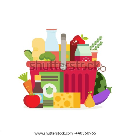 shopping basket with fresh food
