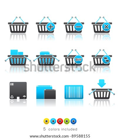 Shopping Baskets icon set 20 - Multi Color Series.  Icon set in EPS 8 format with high resolution JPEG EPS file contains five color variations in different layers