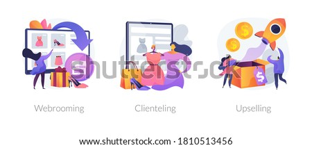 Shopping behavior abstract concept vector illustration set. Webrooming, clienting and upselling, digital goods research, client loyalty, customer motivation, product online abstract metaphor.