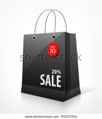 Shopping black bag for sale. vector illustration
