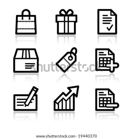 Shopping black contour web icons V2