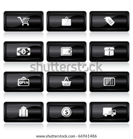 shopping black large buttons