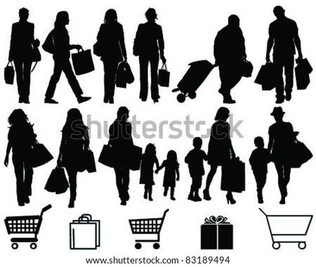 Shopping, black silhouettes and signs on a white background-vector