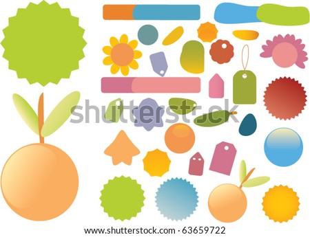 shopping blank colorful stickers. vector