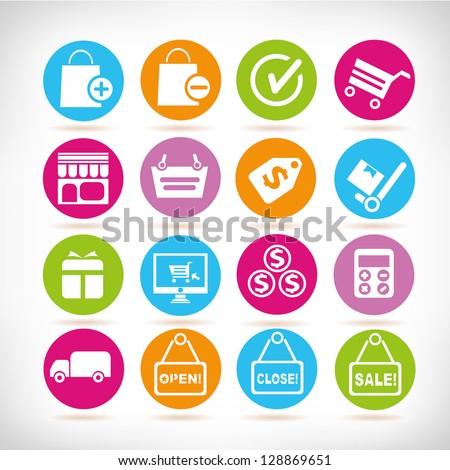 shopping buttons, shopping icon set, vector