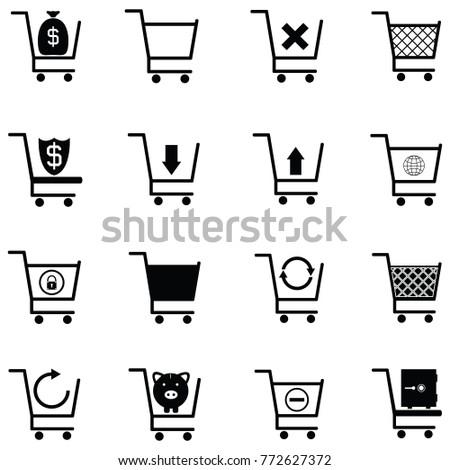 shopping car icon set