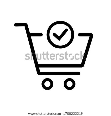 Shopping Cart and Check Mark Icon. Trolley symbol on white background. Vector Illustration.