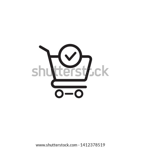 Shopping cart and check mark icon vector completed order, confirm flat sign symbols logo illustration isolated on white background black color. Concept design art for business and online Marketing Stockfoto ©