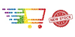 Shopping cart collage icon of filled circle blots in variable sizes and LGBT colorful color tints, and New Stock dirty rosette stamp seal. A dotted LGBT-colored Shopping cart for lesbians, gays,
