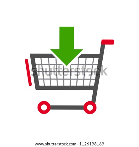 Shopping cart color icon with arrow. Simple icon isolated on white background. Store trolley with wheels. Fat vector Illustration. Good for web and mobile design. Favorite purchase