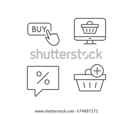 Shopping cart, Discount and Buy button line icons. Update Shopping basket sign. Quality design elements. Editable stroke. Vector